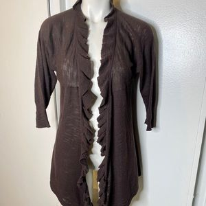 One A Brown Ruffled Cardigan Sweater M